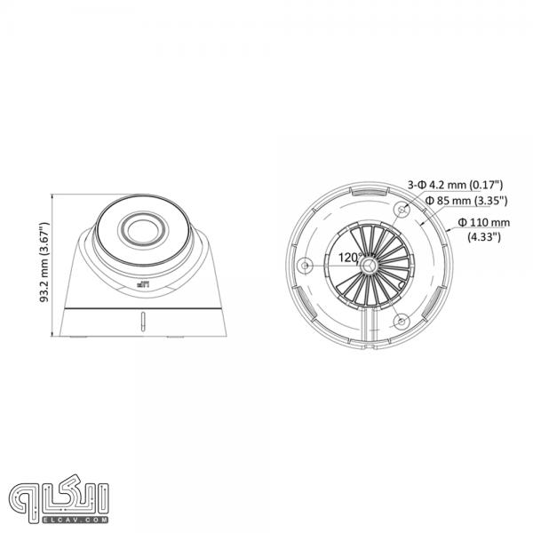 مشخصات ظاهری دوربین مدار بسته هایک ویژن DS-2CE56D8T-IT1E